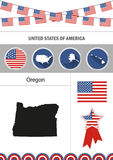 Map of Oregon. Set of flat design icons infographics elements wit Royalty Free Stock Photography