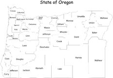 Map of Oregon state. Designed in illustration with the counties. (Map is hight resolution Stock Photography