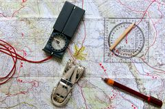 Map and orientation equipments Stock Photo
