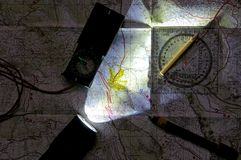 Map and orientation in night view Royalty Free Stock Photography