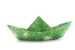 Map origami boat Royalty Free Stock Image