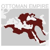 Map of the Ottoman Empire. Vector map of the Ottoman Empire stock illustration