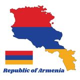 Map outline and flag of Armenia, a horizontal tricolor of red, blue, and orange. With name text Republic of Armenia Royalty Free Stock Photos