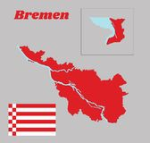 Map outline and flag of Bremen, a red and white flag. The States of Germany royalty free stock photography