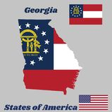 Map outline and flag of Georgia, Three stripes consisting of red, white, red. A blue canton containing a ring of 13 stars. Map outline and flag of Georgia vector illustration