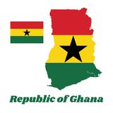 Map outline and flag of Ghana, A horizontal triband of red, gold, and green, charged with a black star in the centre. With name text Republic of Ghana Royalty Free Illustration