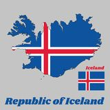 Map outline and flag of Iceland, it is blue as the sky with a snow-white cross, and a fiery-red cross inside the white cross. Map outline and flag of Iceland Royalty Free Stock Photography