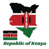 Map outline and flag of Kenya, A horizontal of black, white red, and green with two crossed white spears behind a red. Map outline and flag of Kenya, A royalty free illustration