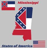 Map outline and flag of Mississippi, with white star. vector illustration