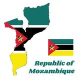Map outline and flag of Mozambique, a horizontal tricolor of green, white-edged black and yellow with the red isosceles triangle. Map outline and flag of royalty free illustration