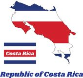 Map outline and flag of Republic of Costa Rica in blue red and white color. Map outline and flag of Republic of Costa Rica in blue red and white color with name royalty free illustration