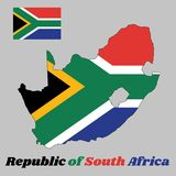 Map outline and flag of South Africa, a horizontal of red and blue with a black triangle, white and green horizontal Y. Map outline and flag of South Africa, a Royalty Free Illustration