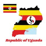 Map outline and flag of Uganda, horizontal bands of black yellow and red ; a white disc depicts the national symbol. Map outline and flag of Uganda, horizontal vector illustration