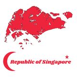 Map outline of Singapore in red color, Crescent moon and star. royalty free illustration
