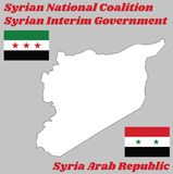 Map outline in white color and two flags of Syria, horizontal tricolour of red, white, and black with star. Map outline in white color and two flags of Syria Stock Illustration