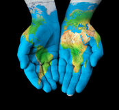 Map painted on hands Royalty Free Stock Image