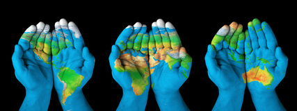 Map painted on hands Stock Images