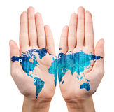 Map painted on the open hands. Isolated on white. Elements of this image furnished by NASA stock photo