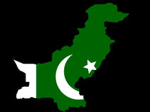 Map of Pakistan. And Pakistani flag illustration Royalty Free Stock Photos