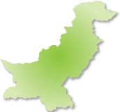 Map of Pakistan. Green map of Pakistan isolated on white background Royalty Free Stock Images