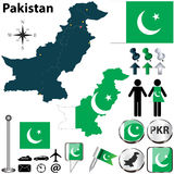 Map of Pakistan. Vector of Pakistan set with detailed country shape with region borders, flags and icons Stock Photo
