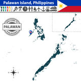 Map of Palawan island, Philippines. Vector of Palawan island, Philippines. Map contains regions and travel icons Royalty Free Stock Photo