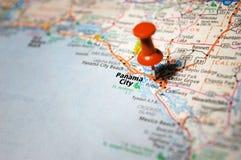 Panama City, Florida. A map of Panama City, Florida marked with a push pin royalty free stock photography