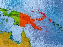 Map of Papua New Guinea. Papua New Guinea in red on realistic map with embossed countries. 3D illustration. Elements of this image furnished by NASA Royalty Free Stock Photo