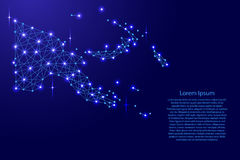 Map of Papua New Guinea from polygonal blue lines, glowing stars  illustration. Map of Papua New Guinea from polygonal blue lines and glowing stars  illustration Stock Image