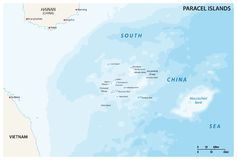 Map of the Paracel Islands controlled by China in the South China Sea.  vector illustration
