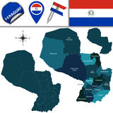 Map of Paraguay with Departments Stock Images