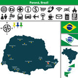 Map of Parana, Brazil Stock Photos