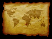 Map on parchment Stock Images