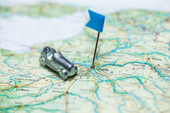 Map of Paris. With a little flag and a car Royalty Free Stock Photos