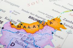 Map of part of Malaysia beside Brunei. Kuala Lumpur is the capital city of Malaysia stock images