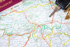Map, passport and car keys Stock Images