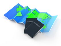Map with passport. Isolated on white background royalty free illustration