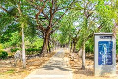 Map and path with trees. In Legenda Park, Kuah royalty free stock photos