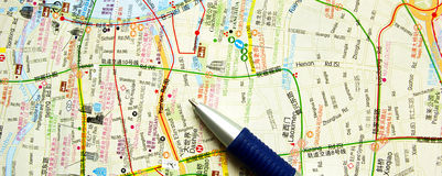 Map and pen Royalty Free Stock Photography