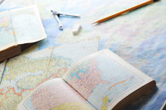 Map and pensil Stock Image
