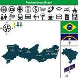 Map of Pernambuco, Brazil Stock Photos