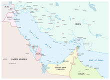 Map of the Persian Gulf and its neighboring countries.  Royalty Free Stock Photos