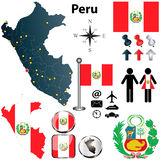 Map of Peru. Vector of Peru set with detailed country shape with region borders, flags and icons Royalty Free Stock Photography