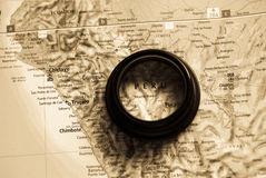 Map of Peru. Selective focus on antique map of Peru stock photography