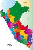 Map of Peru. Peru map designed in illustration with the regions colored in bright colors and with the main cities. On an illustration neighbouring countries are Royalty Free Stock Photos