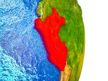 Map of Peru on 3D Earth. Peru on 3D model of Earth with divided countries and blue oceans. 3D illustration stock illustration