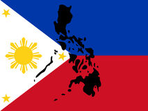 Map of Philippines. And filipino flag illustration stock illustration