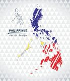 Map of Philippines with hand drawn sketch pen map inside. Vector illustration. Vector sketch map of Philippines with flag, hand drawn chalk illustration. Grunge stock illustration