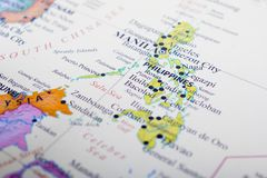 Map of Philippines. Manila is the capital city of Philippines royalty free stock image