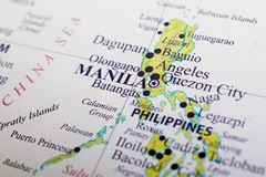 Map of Philippines. Manila is the capital city of Philippines royalty free stock photos